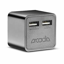 Wall Charger Arcadia 17W 5V/3.4A Dual USB Ports UL Wall Charger w/Foldable Prong