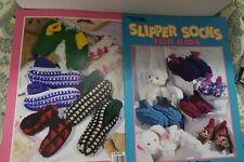 Leisure Arts Crochet Leaflet 3035 Slipper Socks for Kids 7 designs