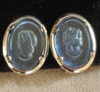 Vintage Blue Glass Intaglio Profile Earrings