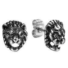 Men's Punk Vintage Charm Stainless Steel Rhinestone Lion Pierced Earrings Studs