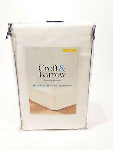 "Croft & Barrow boxpleat bedskirt Full Size with 15"" drop split corners IVORY new"
