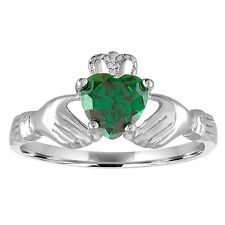 Sterling Silver 925 Irish Claddagh  Ring, Simulated Emerald Green Heart, Size 9