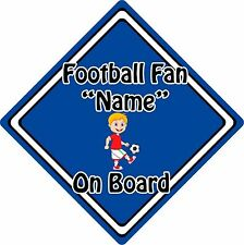 Personalised Football Fan On Board Car Sign ~ Baby On Board ~ Blonde Boy Blue