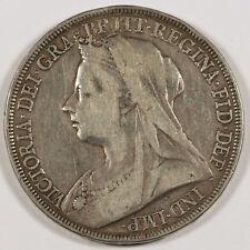 1896 UK GREAT BRITAIN Silver CROWN Coin F/VF VICTORIA Mature Head LX Edge KM783