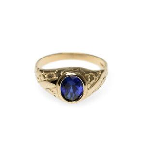 Vintage 9ct Gold & 2 Carat Sapphire Textured Band Signet Ring Mens Size V