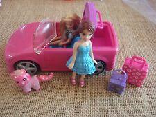 Polly Pocket Dolls Girl Pink Convertible Car Vehicle Lot Pet Cat Travel  5-80