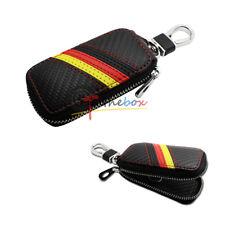 Euro Germany Flag Stripe Pattern Carbon Fiber Leather Key Fob Case Cover Holder