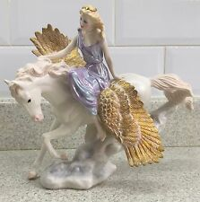 FRANKLIN MINT HORSE ATHENE & PEGASUS THE WINGED HORSE  PERFECT