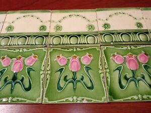 Very decorative panel 10 Original Antique Art Nouveau Majolica tile green pink