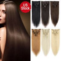 Natural Hair 7 Pieces Straight Clip In Human Hair Extensions 100% Remy Hair USA