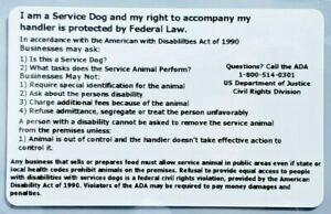 2 SERVICE DOG ID BADGE ADA ESA LAW INFO RIGHTS CARDS HARD PLASTIC ACCESS
