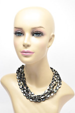 """GORGEOUS Sliced Abalone 6 Strand Beaded Necklace w/Sterling Ends - 19"""" L - 153 G"""