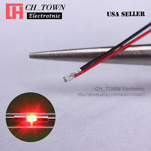 10PCS Pre-Soldered 0402 1005 Red Light Micro Pre Wired 20CM SMD LED Diodes