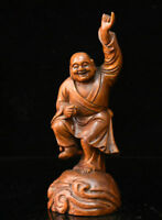 "8.6"" Old Chinese Boxwood Wood Hand-Carved Happy Laugh Maitreya Buddha Sculpture"