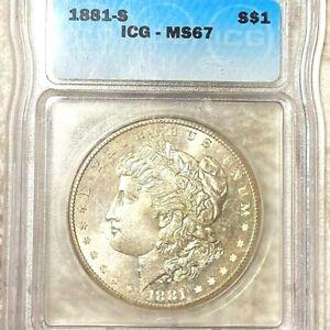 1881 S MORGAN DOLLAR ICG MS67 BEAUTIFUL COIN PRICE GUIDE $800