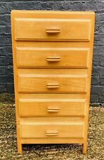Small Antique Teak Chest Of Drawers Any Room Good Condition 5 Drawers