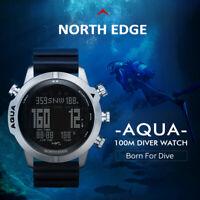 North Edge AQUA Professional Scuba Dive Watch NDL 100M Waterproof Multifunction