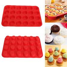 24 Cup Silicone Mini Muffin Bun Cupcake Baking Bakeware Mould Tray Pan Kitchen##