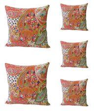 5 Pcs Orange Indian Handmade Kantha Paisley Print Cushion Cover Home Decor