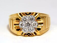 1.00ct natural round cut diamonds wide mens cluster ring 18kt flash+