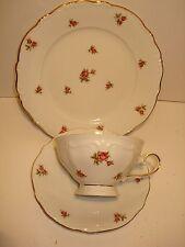 Crown Baveria Western Germany Cup & Saucer & Dessert Plate Roses& Gold Trim