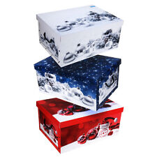 lovely large christmas decoration cardboard storage boxes with lids handles red m30500320