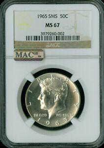 1965 KENNEDY HALF DOLLAR NGC MAC MS-67 SMS PQ MAC SPOTLESS .