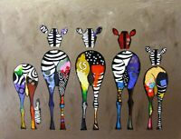 Funny Zebra Bum Painting Animals Canvas Wall Art Various Sizes