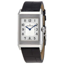 Jaeger LeCoultre Reverso Classic Medium Duetto Silver Dial Mens Leather Hand