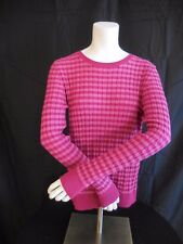 Talbots Cable Knit Sweater Pink With Dark Pink Stripes, Long Sleeve Size M