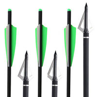 "12x20"" CROSSBOW CARBON Field Tip Bolts Fletched 4'' Vane Bow Arrows & BROADHEADS"