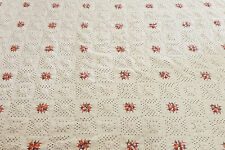 """Hand made Crochet Bedspread Blanket Granny square Ivory Size 130""""x120"""""""