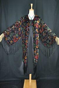 Classic Black Color Flower Eastern Burnout Velvet Fringe Jacket Duster Kimono