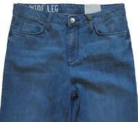 New Womens Marks & Spencer Blue Wide Leg Ankle Grazer Jeans Size 10 Regular