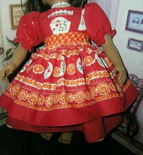 "Red Dress Floral Border Print Apron 2 piece Dress 23"" Doll clothes fits My Twinn"