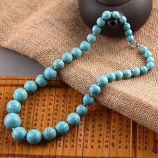 Old Azurite Turquoise Gemstone round Beads Necklace (