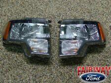 2009 thru 2014 Ford F-150 SVT Raptor Black Halogen Headlight Set (pair)