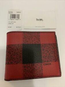 Coach Men's Wallet F37352 QB/Red Multi 3 IN 1 BUFF CHECK 224221JAX QBREM