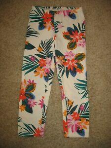 Girls' size M 8 Old Navy Stretch Capri Leggings Multi-Color Hawaiian Flowers