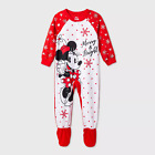 NEW DISNEY MINNIE MOUSE MERRY  BRIGHT Footed Pajama blanket sleeper footie 4 T