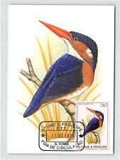 S. tomé Mk 1979 pájaros martín pescador zwergfischer Kingfisher maximum mapa mc cm m275/