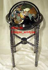 "36"" Tall Black Gemstone Globe with Four Leg silver Stand"