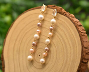 B15 Long Earrings Gold Plated With Freshwater Pearls White Pink Purple