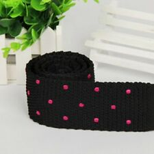 Black Pink Polka Dot Knitted Tie Formal Party Style UK Seller