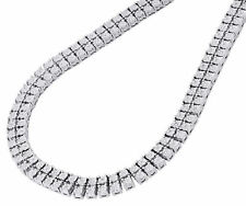 "Mens 925 Sterling Silver 2 Row White Diamond Chain Necklace 2 ct. 22"" Bezel Set"