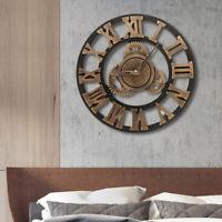 DIY 3D horloge murale chiffres romains Vintage Art grand miroir rétro industrie