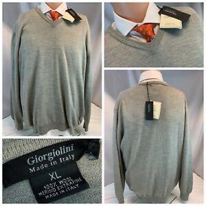 Giorgiolini Italy V Neck Sweater XL Gray 100% Merino Wool Italy NWT YGI A1-382