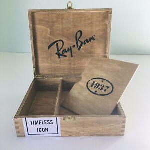 Ray Ban Sunglasses Havana Collection Limited Edition Wood Storage Rare Gift Box