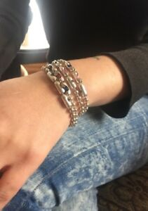 Women's Swarovski Crystal Sterling Chain Cuff Wrap Bracelet, Custom Stone Bangle