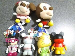 "DISNEY 3"" VINYLMATION  Mickey Minnie Tinkerbell LOT OF 4 FIGURESand two plush"